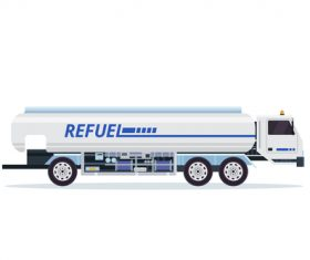 Airport oil truck cartoon vector