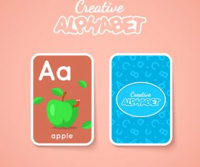 Alphabet double-sided card for children A vector