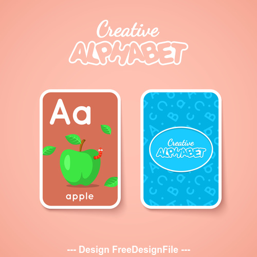 Alphabet double sided card for children A vector