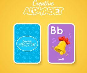 Alphabet double-sided card for children B vector