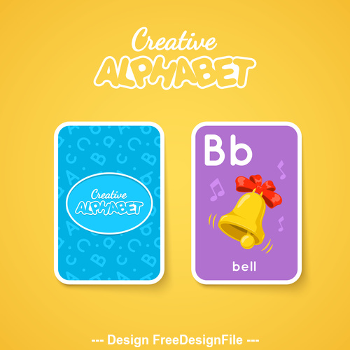 Alphabet double sided card for children B vector