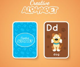 Alphabet double-sided card for children D vector