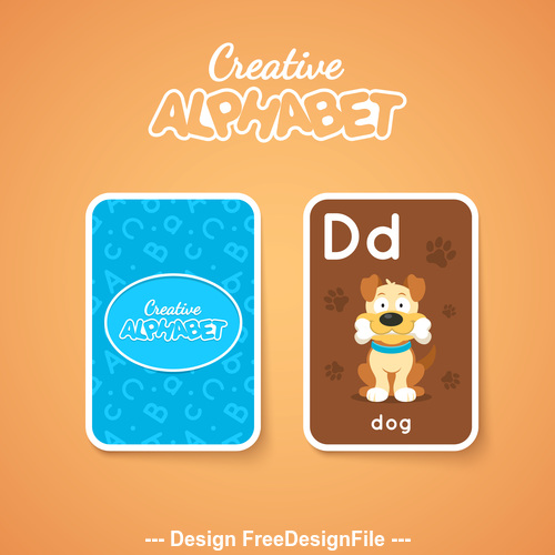 Alphabet double sided card for children D vector