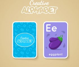Alphabet double-sided card for children E vector