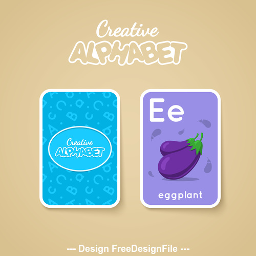 Alphabet double sided card for children E vector