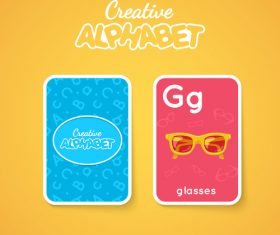 Alphabet double-sided card for children G vector