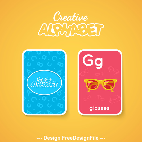 Alphabet double sided card for children G vector
