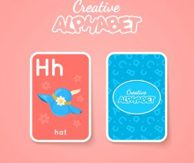 Alphabet double-sided card for children H vector