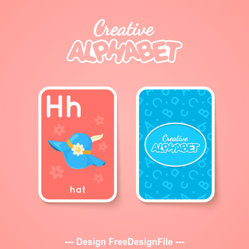 Alphabet double sided card for children H vector