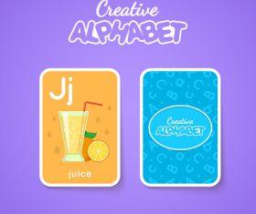 Alphabet double-sided card for children J vector