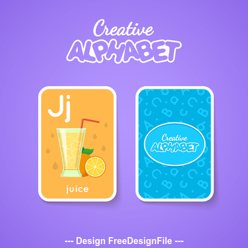 Alphabet double sided card for children J vector