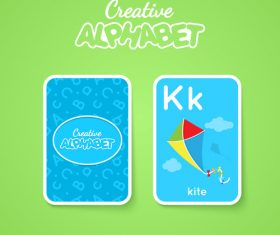 Alphabet double-sided card for children K vector