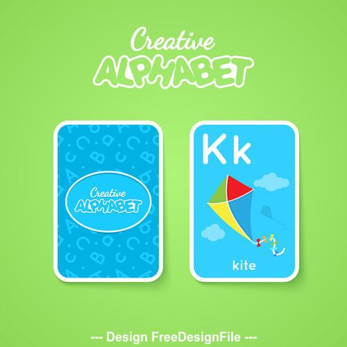 Alphabet double sided card for children K vector