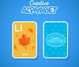 Alphabet double-sided card for children L vector