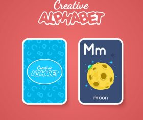 Alphabet double-sided card for children M vector