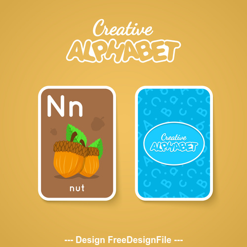 Alphabet double sided card for children N vector