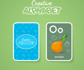Alphabet double-sided card for children O vector