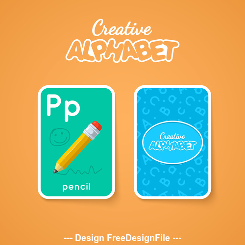 Alphabet double sided card for children P vector
