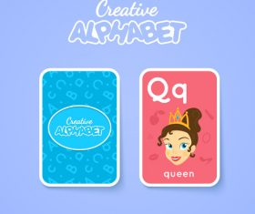 Alphabet double-sided card for children Q vector