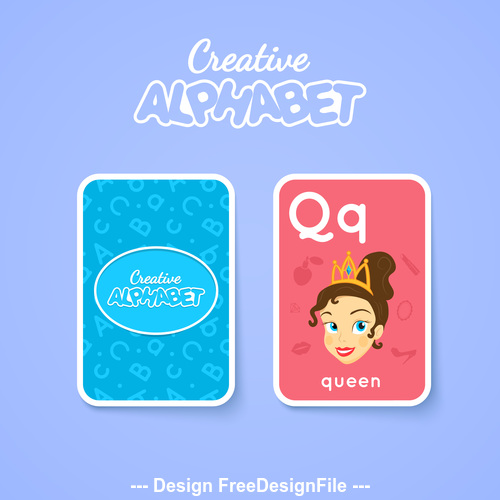 Alphabet double sided card for children Q vector