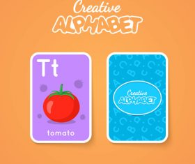 Alphabet double-sided card for children T vector