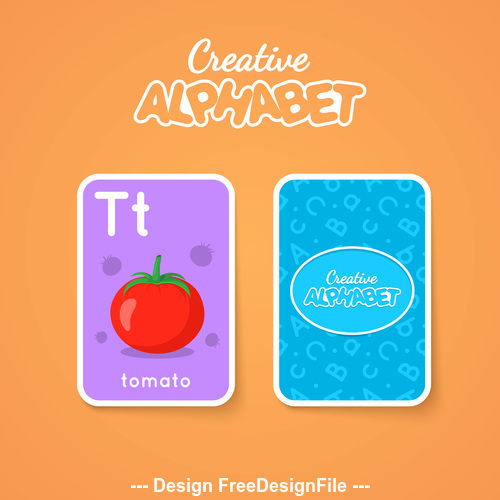 Alphabet double sided card for children T vector