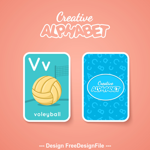 Alphabet double sided card for children V vector