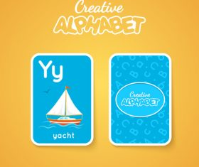 Alphabet double-sided card for children Y vector