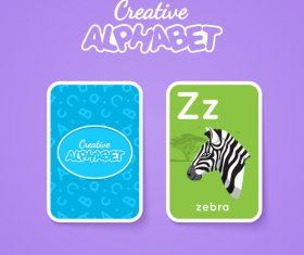 Alphabet double-sided card for children Z vector