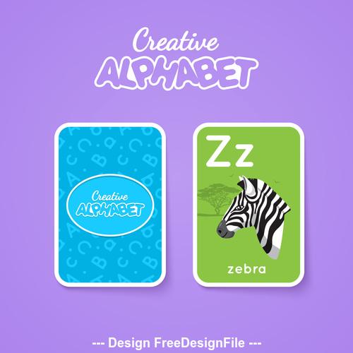Alphabet double sided card for children Z vector