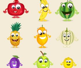 Amusing cheerful cartoon fruit and vegetables vector