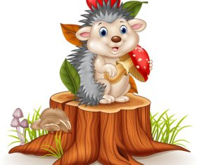 Animal cartoon foraging hedgehog vector