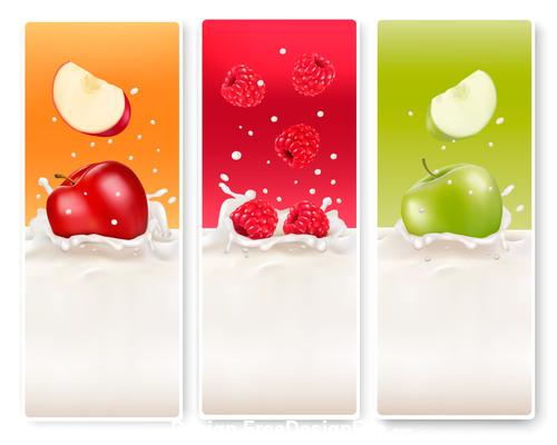 Apple splash in milk vector