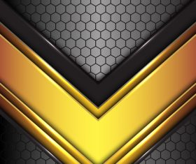 Arrow gold black honeycomb background vector