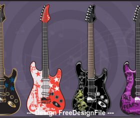 Art color electric guitars vector