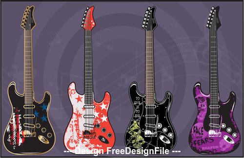 Art color electric guitars vector