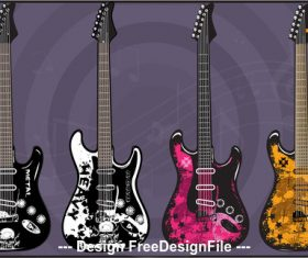 Art electric guitars vector