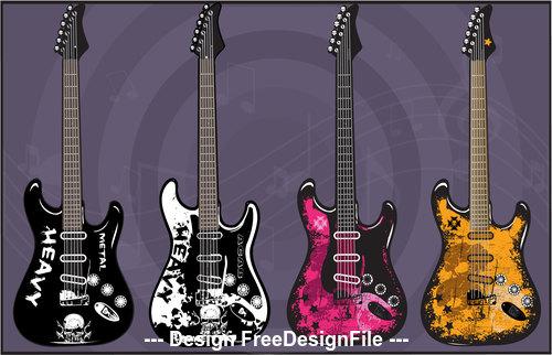 Art electric guitars vector