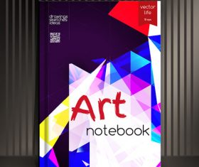 Art geometric abstract notebook cover vector