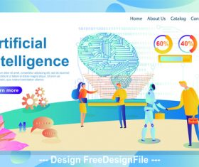 Artificial intelligence cartoon illustration vector