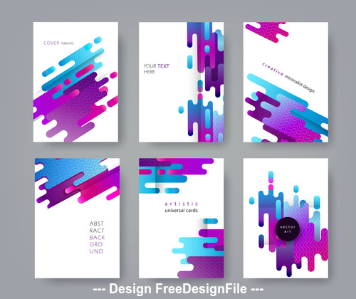 Artistic universal cards rounded shapes color vector
