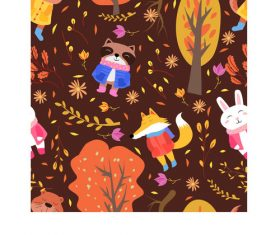 Autumn animasl pattern vector