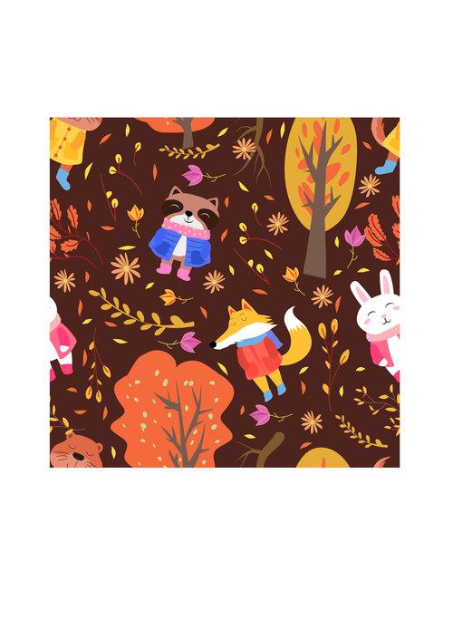 Autumn animasl pattern vector
