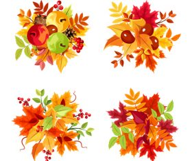 Autumn leaf and fruit illustration vector