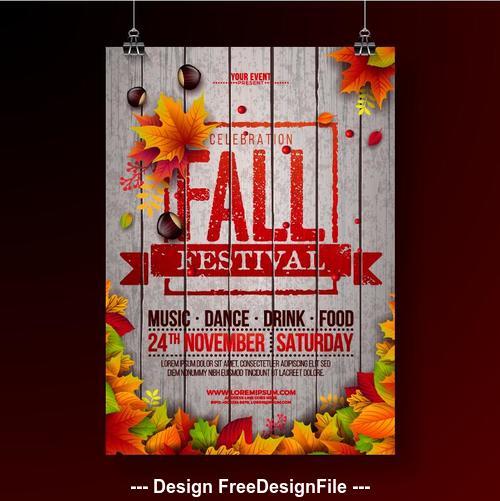 Autumn leaf sale decoration background pattern vector