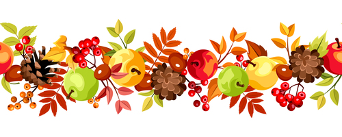 Autumn leaves horizontal seaml illustration vector