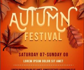 Autumn party flyer template vector