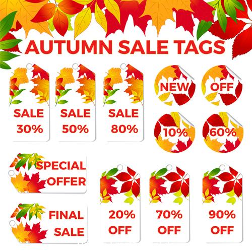 Autumn sale tags vector