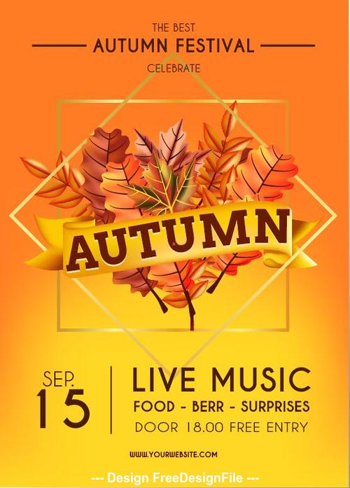 Autumn thanksgiving celebration live music flyer vector