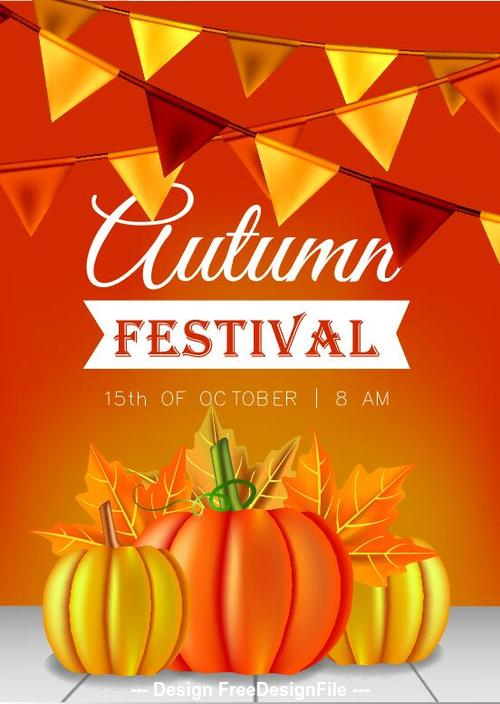 Autumn thanksgiving flyer vector
